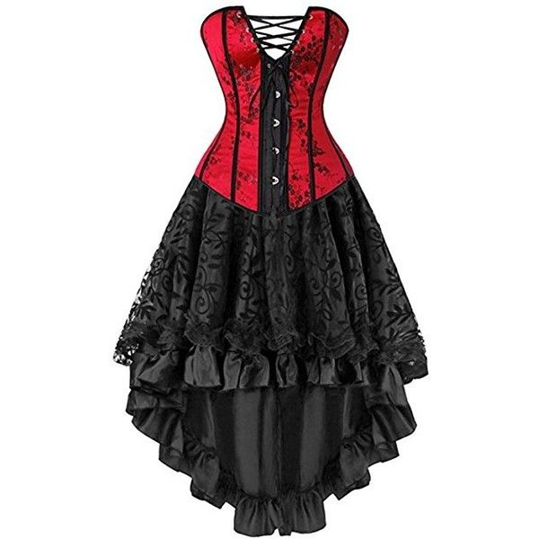 Martya Women's Basque Gothic Boned Lace Corsets and Steampunk Bustiers... (€26) ❤ liked on Polyvore featuring dresses, corset bustier, steampunk corset dress, women plus size dresses, gothic corset dresses and lace corset dress