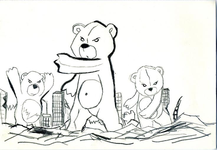Boceto ositos destruyendo la ciudad! | Mis bocetos | Pinterest