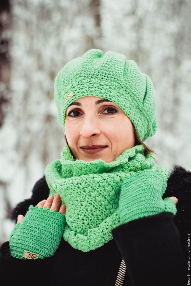 """Купить Шапка- бохо светло- зелёная вязаная """"Зелье"""" - салатовый, однотонный, бохо, шапка женская"""