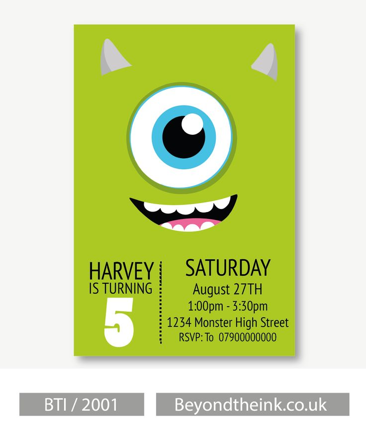 Personalised Monsters Inc Mike Wazowski Invitations.  Printed on Professional 300 GSM smooth card with free envelopes & delivery as standard. www.beyondtheink.co.uk