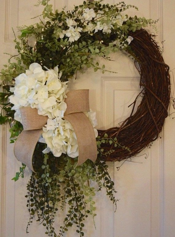 LUSH GREENERY & WHITE HYDRANGEA WREATH Spring Wreath Summer. by Ruby Flippers #rubyflippers