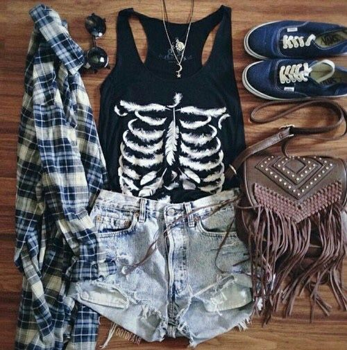 10. Black sleeveless T with skeleton print, tattered jean shorts, navy Vans, dark black shades, a brown tassel hand bag, and a navy and grey-white plaid shirt