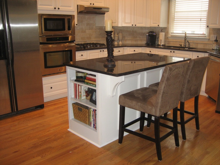 my kitchen island  i added the bookcase to the existing island then extended the back with a piece of plywood added the trim and support pieces  u2026 my kitchen island  i added the bookcase to the existing island      rh   pinterest com