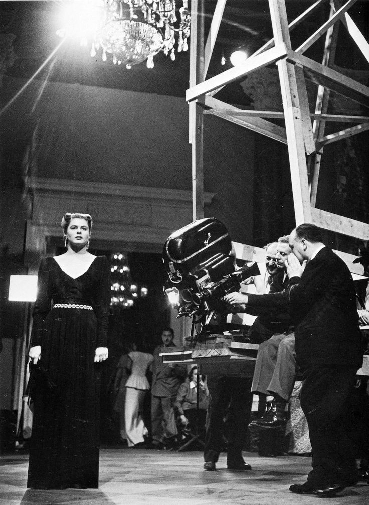 Ingrid Bergman and Alfred Hitchcock on the set of Notorious, 1946