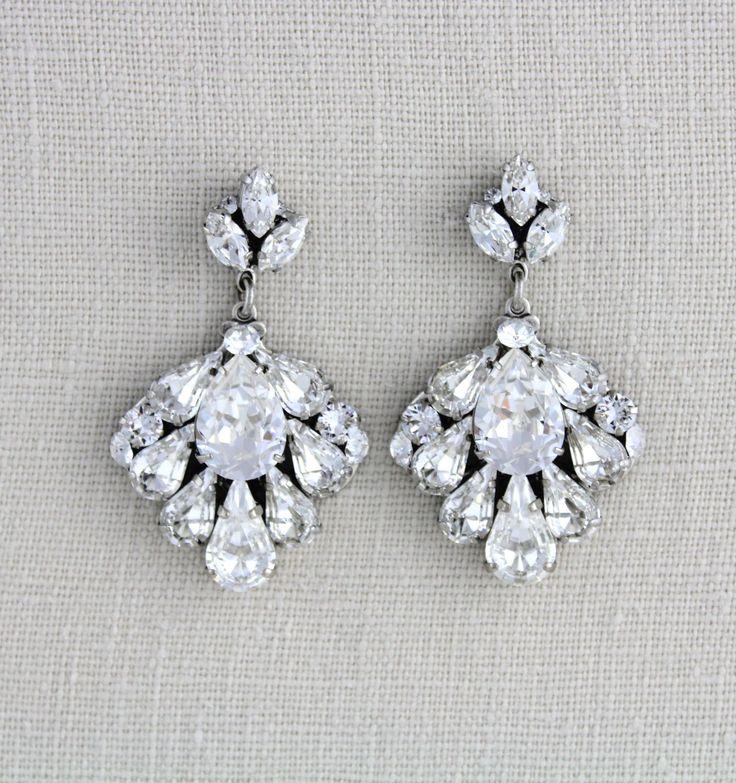 Bridal earrings 772 pinterest bridal earrings crystal wedding earrings wedding jewelry swarovski earrings bridal jewelry mozeypictures Image collections