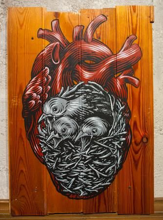 """Lucamaleonte's """"Il ciclo"""", 35x51, acrylic on wood, 2014. SOLD! #art #gallery #rome #lowbrow #artgallery #artistic #lowbrowart #exhibition"""