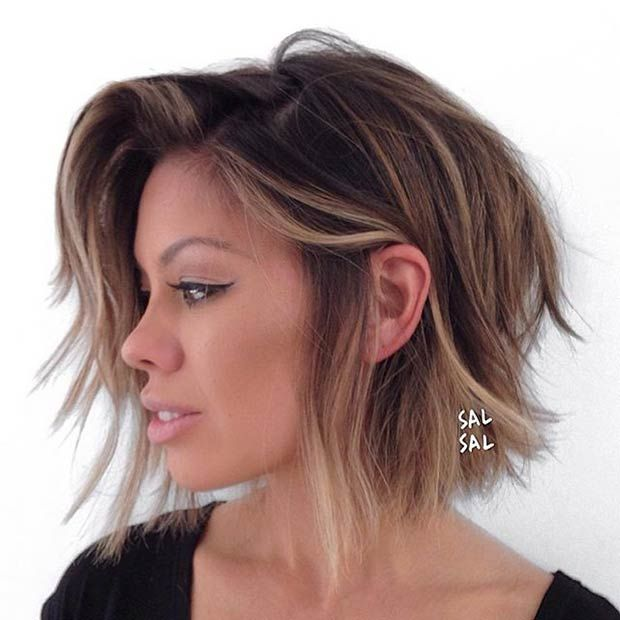 Layered Bob Haircut + Caramel Highlights