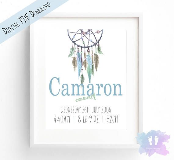 Boy Boho DreamCatcher Birth Announcement Wall Art  Birth