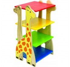 Ραφιέρα που αποτελείται από 4 ράφια σε βασικά χρώματα και βάσεις στήριξης 4 καμηλοπαρδάλεις. Είναι κατασκευασμένη από ξύλο καοτσουκόδενδρου και είναι ιδανική για το παιδικό δωμάτιο.