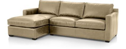 Davis Leather 2-Piece Sectional Sofa (Left Arm Chaise, Right Arm Apartment Sofa) shown in Libby, Mushroom