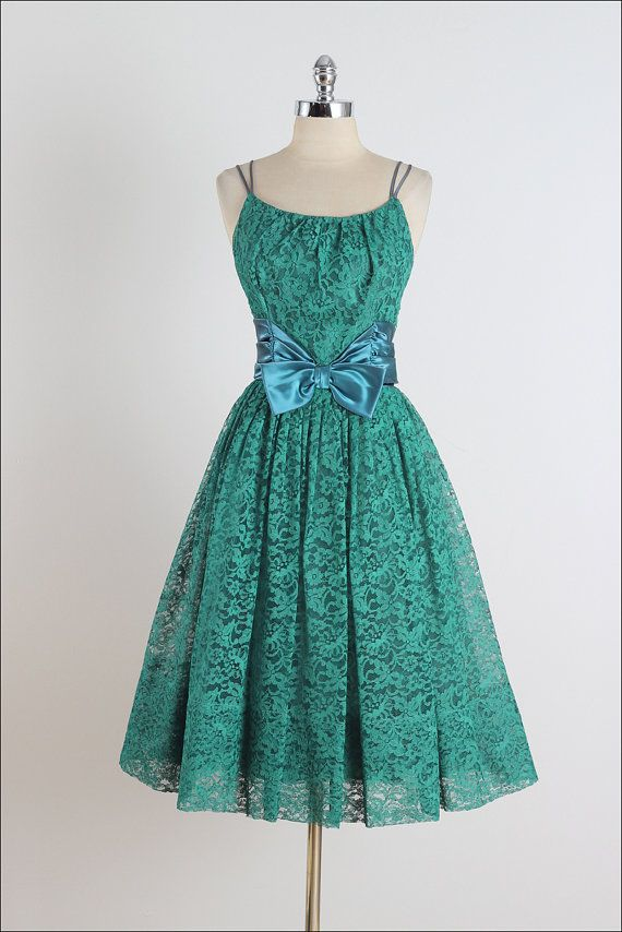 Sea Glass . vintage 1950s dress . lace dress by millstreetvintage #Repin