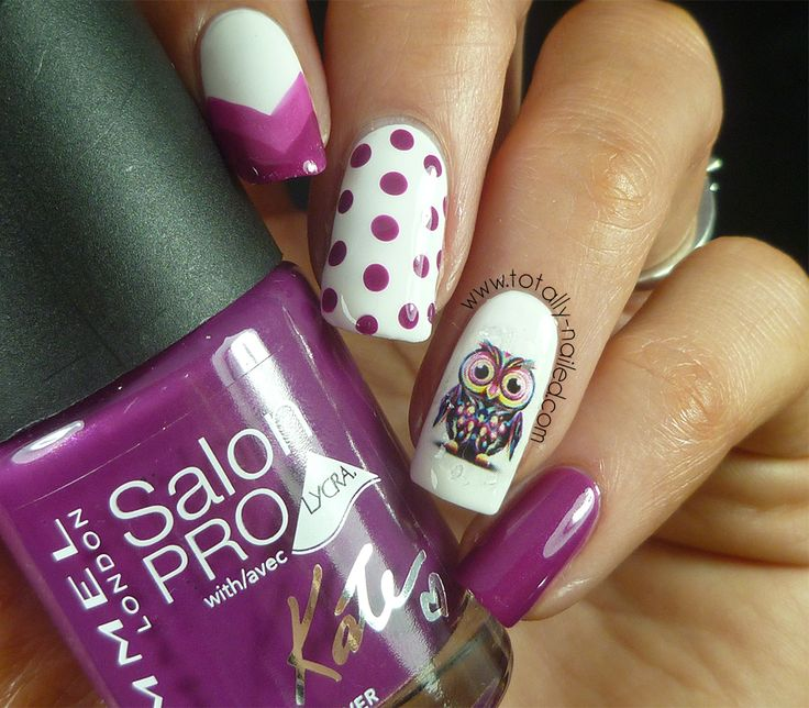 Owl Nail Decals and Nail Art minus the decal owl