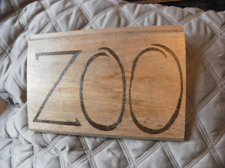 Zoo pyrography sign on pine for yard or walls- wherever there are too many animals by SignsOFire on Etsy