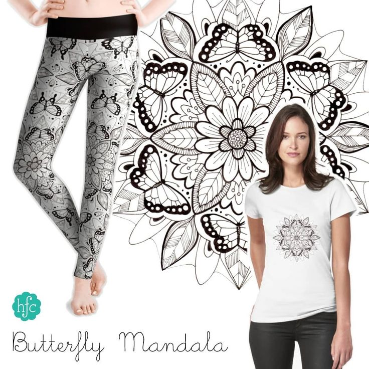 My hand drawn Butterfly Mandala design on t-shirts and leggings. Available from Society6 and Redbubble on lots of other products too and on fabric from Spoonflower! (See links in my profile) #butterfly #mandala #blackandwhite #handdrawn #pendrawing #illustration #surfacepattern #surfacedesign #surfacepatterndesign #designer #society6 #society6art #redbubble #redbubbleart #spoonflower #leggings #tshirt #fashion #art #patterndesign #textiledesign #tshirtdesign #hazelfishercreations