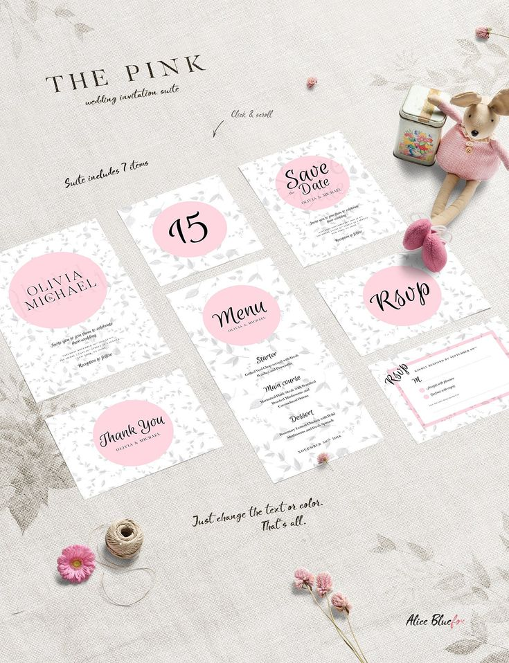 The Pink - Wedding Invitation Suite by Alice Bluefox on @creativemarket