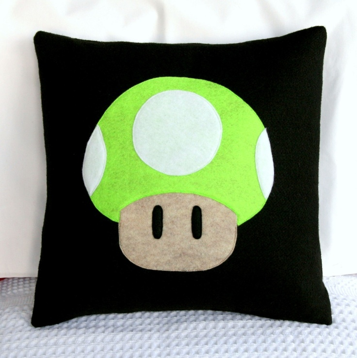 Super Mario Brothers- 1up Pillow Cover- 14 x 14 inches- Eco Friendly. $20.00, via Etsy.