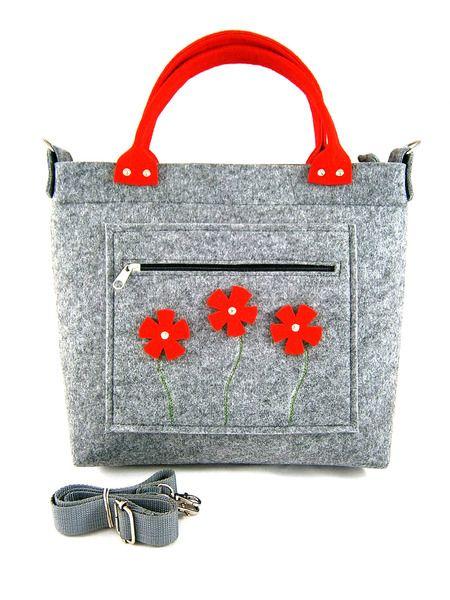 Red flowers in pocket/strap from Torebeczkowo by DaWanda.com