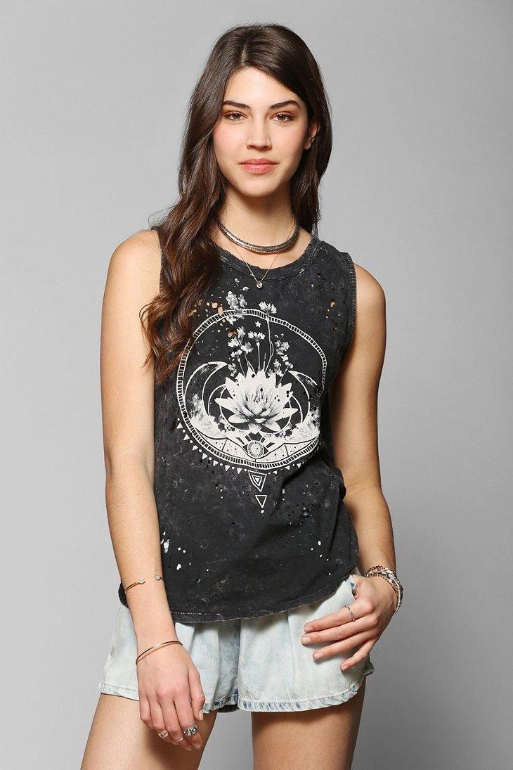 Black t shirt urban outfitters - Shop Black Moon Flowers Moon Tee At Urban Outfitters Today