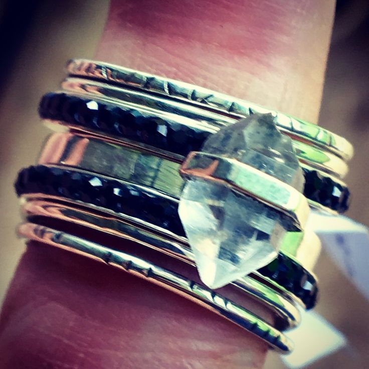 sterling silver stack rings, black crystal and natural quartz crystal