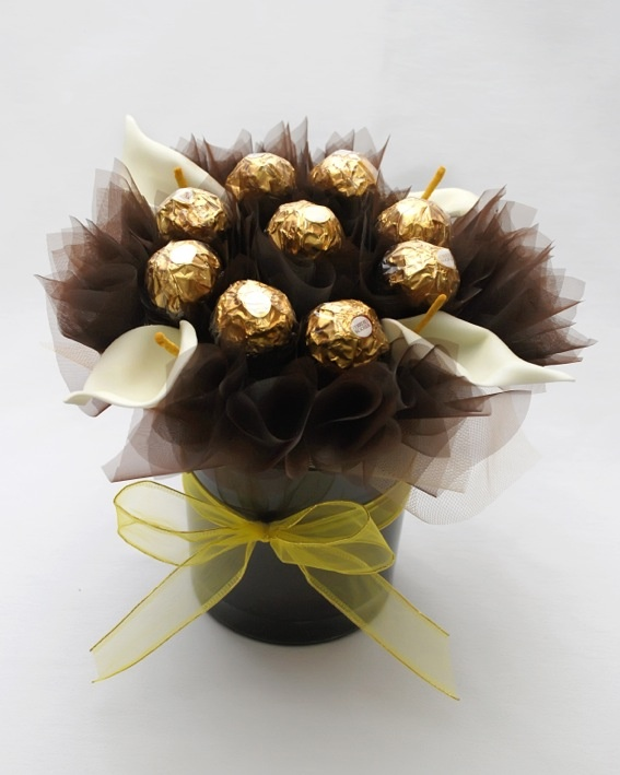 Hand made Buchet ciocolata-ghiveci Chocolate bouquet - pot