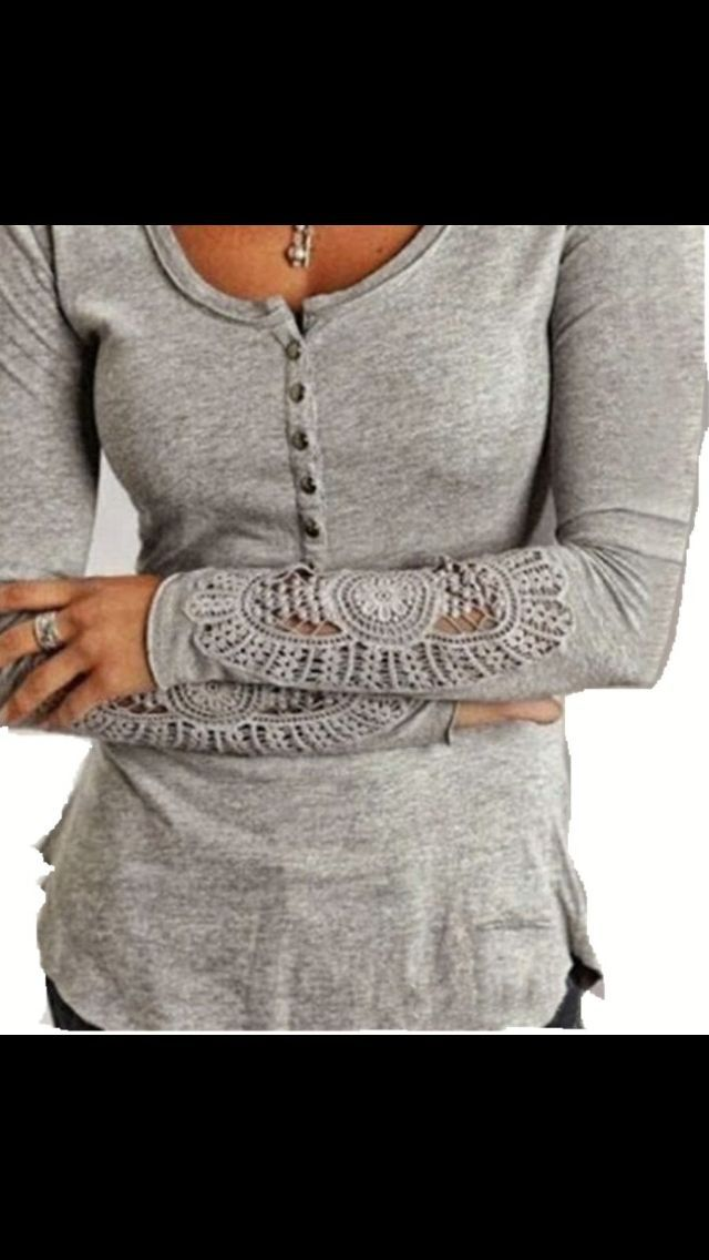 Stitch Fix Fall Fashion! Sign up today for your subscription box & your own personal stylist for $20! Grey long sleeved tee with crochet sleeve. #StitchFix #Sponsored