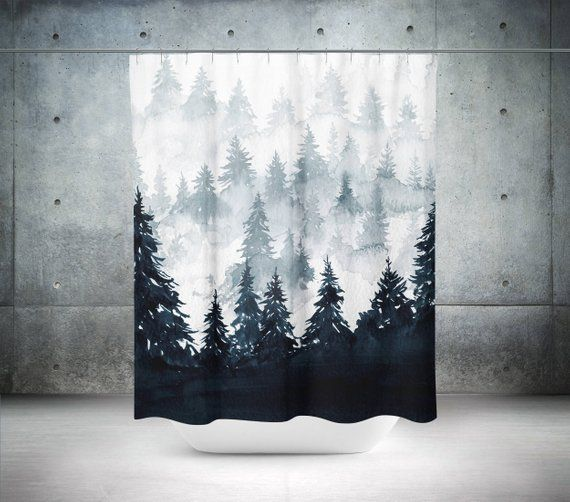 Trees Shower Curtain Scenic Shower Curtain Nature Shower Curtain Mountain Shower Curtain Black Bathroom Decor Black Bath Curtain Tree Shower Curtains Black Bathroom Decor Bathroom Decor