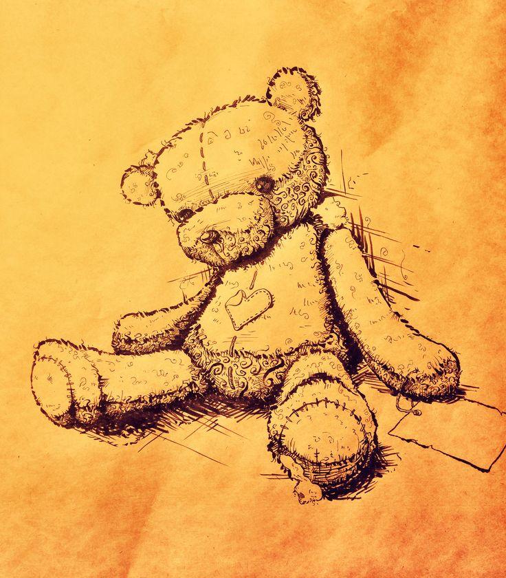 2014 #draw #drawing #art #illustration #picture #teddybear #doll #farewell