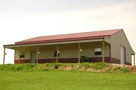 Pole barn - tan w/red roof