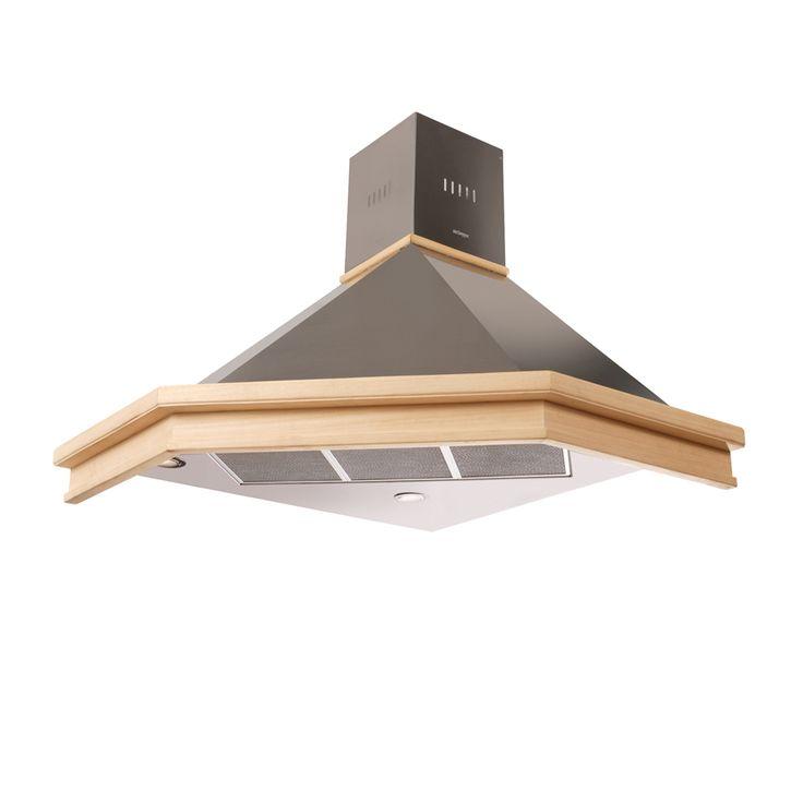 Mekappa Ankastre - 'Daphne Corner 85 cm -  Inox - Wood Cooker Hood / İnoks - Ahşap Davlumbaz - Köşe Davlumbaz - Corner Cooker Hood
