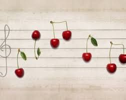 still life photography ideas // cherry music notes
