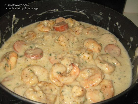 Creole Shrimp & Sausage in White Cream Sauce... serve with pasta, mashed potato or rice.