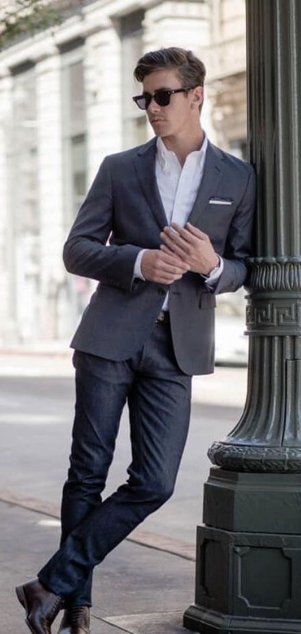 af666da6312 Fall business casual with a gray blazer white black lined pocket square  white button up shirt blue jeans brown leather belt brown shoes brown leather  banded ...