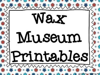 Planning a Wax Museum for your social studies students? These printables will save you time in your set up! This product includes a button in 3 different color options and printables for a Visitors Center. Pictures are included for set-up ideas!