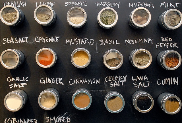 Great way to combine chalk and magnetic spice storage!  Love the labeling system!!