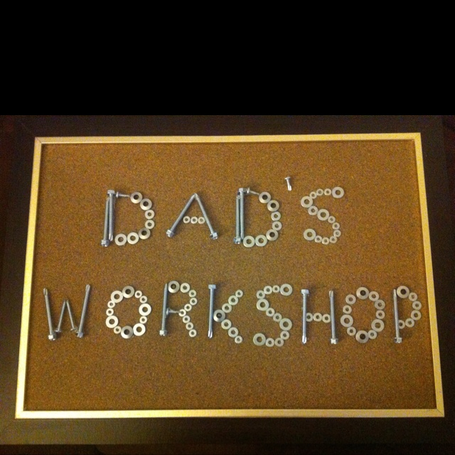 Dads Fathers Day present made from screws and washers- perfect for any handyman to hang in his workshop