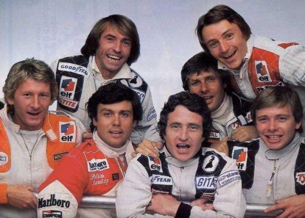 Jean-Pierre Jabouille, Patrick Tambay, Patrick Depailler, Didier Pironi, Jacques Lafitte, Jean-Pierre Jarier et René Arnoux