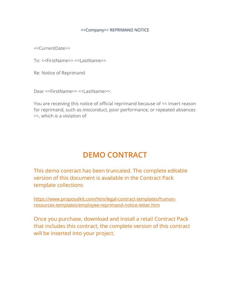 Employee Reprimand Notice Letter - The Employee Reprimand Notice