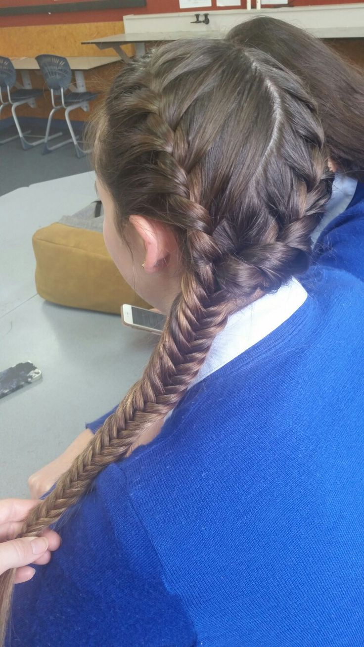 Double french braid into fishtail