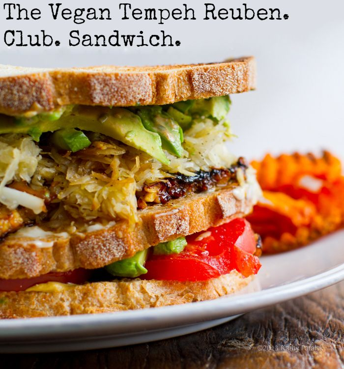 Vegan Tempeh Reuban Sandwich. Club Style!