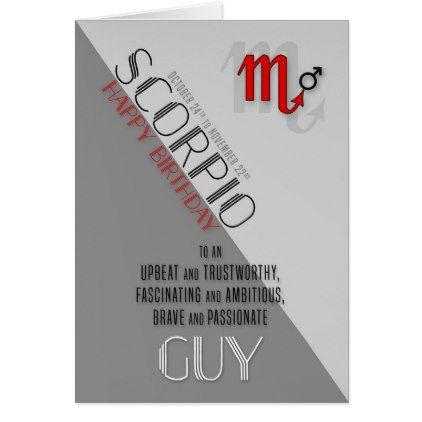 Scorpio Birthday for Him October 24 to November 22 Card - individual customized designs custom gift ideas diy