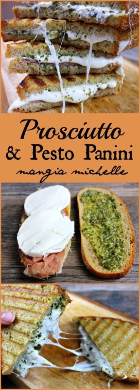 With only 4 main ingredients, prosciutto and pesto panini are a simple and delicious weeknight meal ~ www.mangiamichelle.com