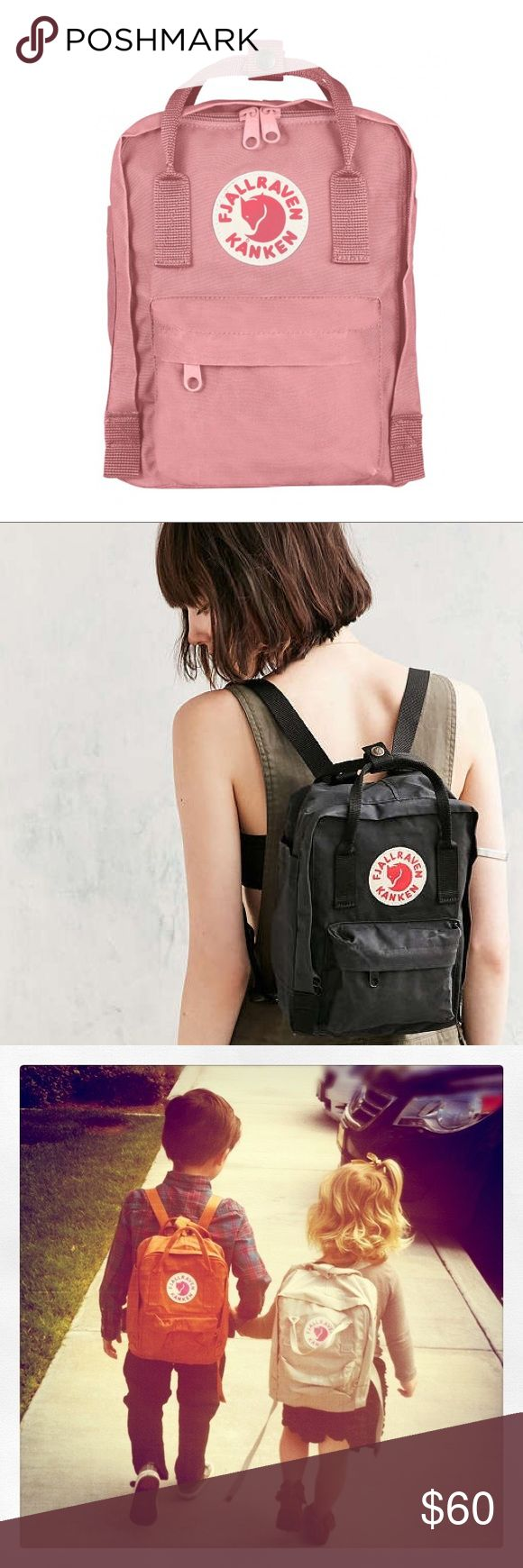 Fjallraven Kanken mini book bag Kånken backpack in little format with long shoulder straps that can be adjusted to fit both children and adults. Removable seat pad.  Perfect baby style 90's mini book bag. Fjallraven Bags Backpacks