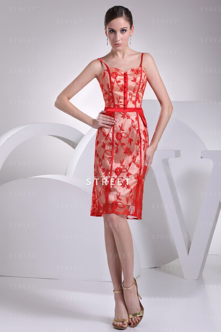 Trending High End Luxury Red And Glod Spaghetti Knee length Satin Destination Wedding Guest Dress