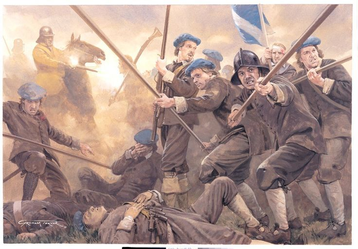 1650 Battle of Dunbar, where Scottish troops of the newly proclaimed King Carlos II, under the command of David Leslie, suffered a disastrous defeat at the hands of the parliamentary forces with Oliver Cromwell.