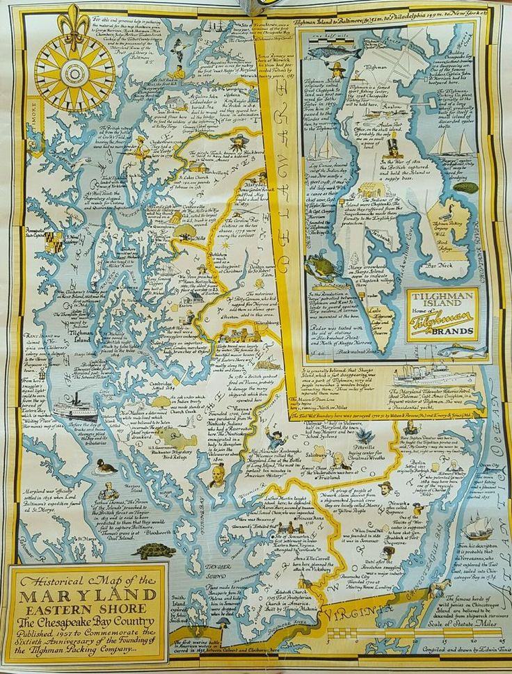 "1957 TILGHMAN PACKING COMPANY Historic Map of MARYLAND EASTERN SHORE 17""× 22"""