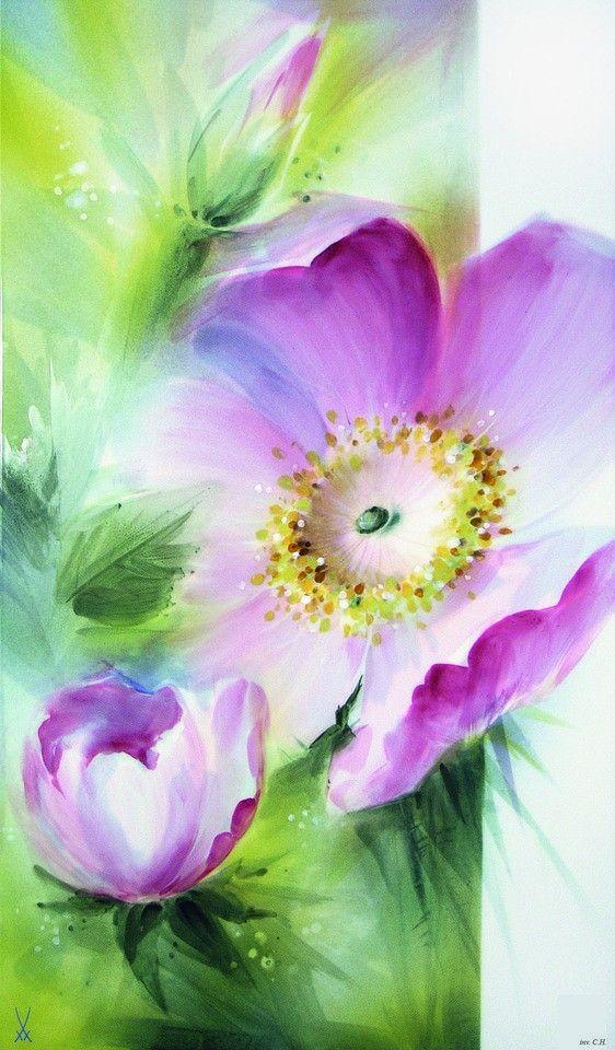 Wandbild, Heckenrose, purpur, weißer Rand, 35 x 20 cm