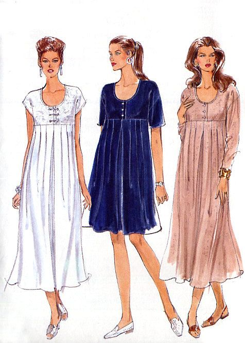 patterns for dresses with empire waist | Empire Waist Maternity Dress Pattern - Vogue 9265 - A Line or Flared ...