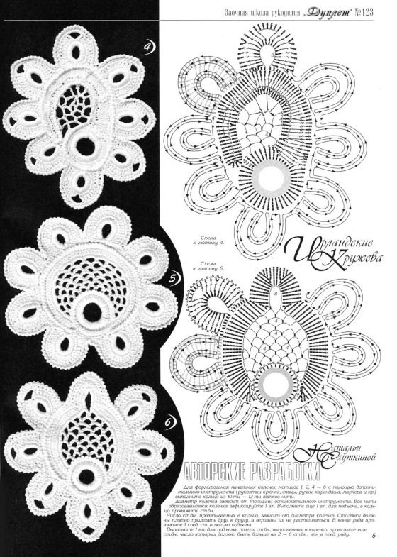 Irish crochet Motif with diagram #2