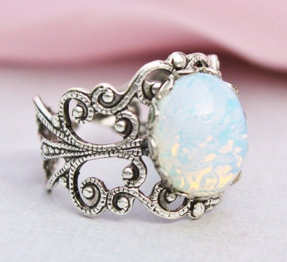 Silver Opal Ring Silver Filigree Ring Vintage #vintage #ring www.loveitsomuch.com