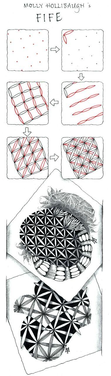 """""""Fife"""" ~ an official Zentangle tangle by Certified Zentangle Teacher Molly Hollibaugh"""